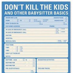 babysitter instructions