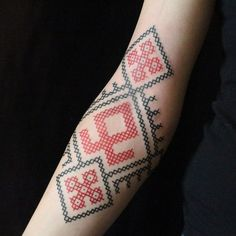 cross stitch geometric #arm #forearm #tattoos