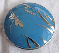 I love this one!  VINTAGE 1930's STRATTON ENAMEL NON SPILL POWDER COMPACT - DRAGONFLY & BULRUSH