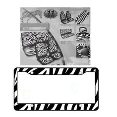 11-Piece Safari Animal Print Automotive Interior Gift Set - 2 Zebra Black and White Low Back Front Bucket Seat Covers with Separate Headrest Cover, 1 Zebra Black and White Steering Wheel Cover, 2 Zebra Black and White Shoulder Harness Pressure Relief Cover, 1 Zebra Black and White Bench Cover and 1 Zebra Black and White Plastic License Plate Frame $54.97