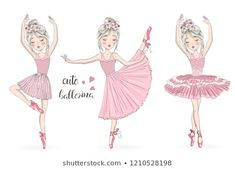 Find Three Hand Drawn Beautiful Lovely Little stock images in HD and millions of other royalty-free stock photos, illustrations and vectors in the Shutterstock collection. Thousands of new, high-quality pictures added every day. Ballerina Art, Ballet Art, Little Ballerina, Ful Image, Best Friend Drawings, Ballet Pictures, Disney Cartoon Characters, Unicorn Pictures, Illustration