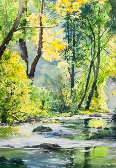 Beautiful yellow and spring green trees reflecting into a stream. Watercolor pa… Beautiful yellow and spring green trees reflecting into. Watercolor Pictures, Watercolor Landscape Paintings, Watercolor Trees, Watercolor Artists, Landscape Art, Abstract Paintings, Oil Paintings, Guache, Pictures To Paint