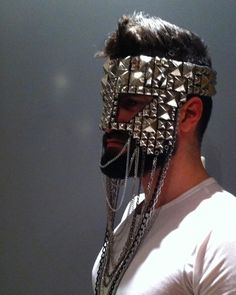 Face Concealment: K.nt Masks | #mask #silver #spikes #excessive #ornamentation #face #concealment #obscured #identity #hidden #anonymous #male #model #K.nt #Masks