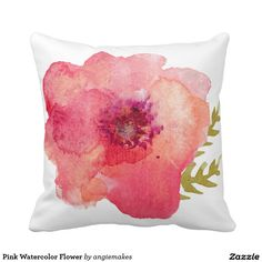 Pink Watercolor Flower Throw Pillow. Artwork designed by Angie Makes. Price $33.50 per pillow