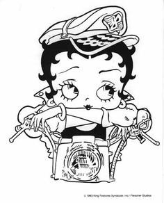Betty Boop Coloring Pages To Print Google Search Betty Boop Tattoos Betty Boop Biker Betty Boop