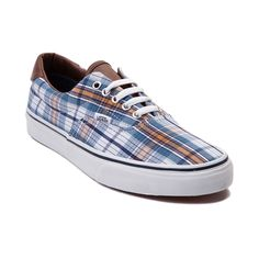 Shop for Vans Era 59 Plaid Skate Shoe in Navy Plaid at Journeys Shoes. Shop today for the hottest brands in mens shoes and womens shoes at Journeys.com.Show some plaid-itude this season with the Era 59 Skate Shoe from Vans! The Era 59 Skate Shoe sports a plaid printed canvas upper with leather tongue and heel accent, padded collar for superior cushion and comfort, and rubber outsole with signature waffle tread for premium grip and traction.Coming to a store near you in April; Only available…