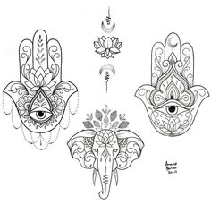 34 Tattoos Design for Women - Page 15 of 34 - Tattoo Designs Hamsa Hand Tattoo, Hand Tattoos, Hamsa Tattoo Design, Mandala Tattoo, Body Art Tattoos, Small Tattoos, Hamsa Design, White Tattoos, Ankle Tattoos
