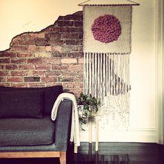 Big pink spot... #weave #weaving #weaveweird #weaverfever #weavingaustralia #wovenwallhanging #wool #loom #string #madeinmelbourne #nicolepollockdesign #loomweaving #modernmacrame