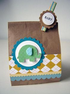 Elephant baby shower favor via Plain Jane Baby Favors, Baby Shower Favors, Elephant Birthday, Elephant Baby, Cricut Cards, Baby Cards, Cardmaking, Baby Gifts, Craft Projects
