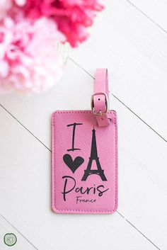 Pink Luggage Tag, I Love Paris, Going to Paris Gift, Bon Voyage, Parisian, France, French Theme, Eiffel Tower, Bag Tag, Leather Luggage