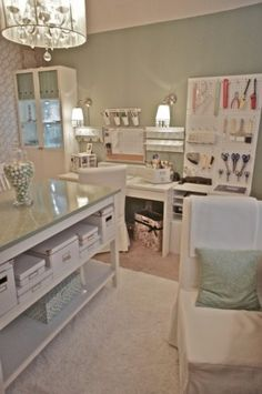 such a pretty craft room / home office