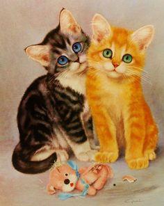 1960s It Wasn't Us .............. Children Print Illustration, Vintage Cat Art (For You To Frame) 9 x 12: