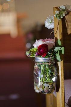 Mason jars on church pews church pew decorations, pew flowers, wedding flowers, pretty Wedding Jars, Rustic Wedding Centerpieces, Wedding Church, Wedding Ideas, Trendy Wedding, Wedding Ceremony, Reception, Pew Flowers, Wedding Flowers