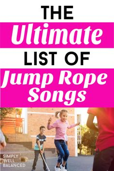 The ulitmate list of super fun jump rope songs, rhymes and chants for kids. How many you can remember? Jump Rope Songs, Jump Rope Games, Hand Clapping Games, Hand Games, Recess Games, Spring Song, Kids Moves, Rhymes Songs, Rhymes For Kids
