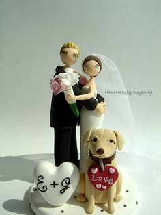lovely couple with dog customized wedding cake topper by Clayphory, $130.00