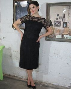 1950's-1960's Black Lace Wiggle Dress available at FirstLoveLastLove