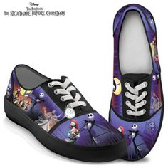 High-quality canvas sneakers feature art of all your favorite characters, rubber soles, cushioned insoles, and metallic Jack Skellington lace charm.