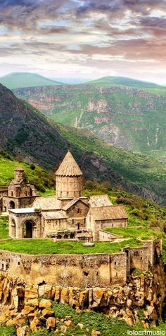 Ancient Tatev Monastery. The 9th century monastery is located on a large basalt tableau near the Tatev village in Syunic Province. It stands on the edge of a deep gorge of the Vorotan River. Known as the bishopric seat of Syunic, ARMENIA
