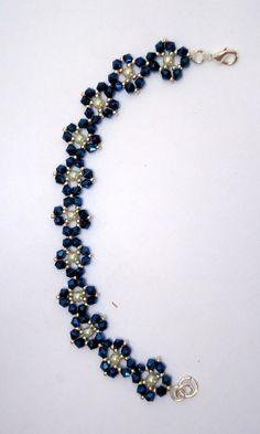 3149f92fe416 Beaded bracelet flower bracelet crystal bracelet faux pearl