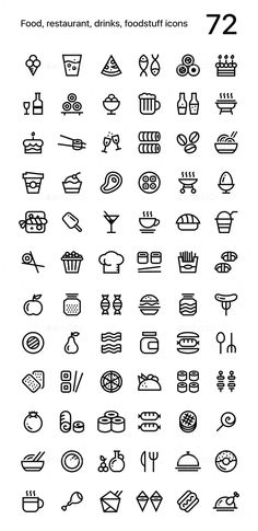 Buy Food, Restaurant, Foodstuff Icons Pack for Web and Mobile Apps by karetniy on GraphicRiver. Food and restaurant line icons pack items) for app mobile or web design. Restaurant Web, Mobile Restaurant, Doodle Icon, Doodle Art, App Design, Mobile Design, What Is Fashion Designing, Letter Icon, Food Doodles