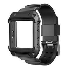 Fitbit Blaze Accessory, UMTELE [Rugged Pro] Resilient Protective Case with Strap Bands for Fitbit Blaze Smart Fitness Watch (Black) -- Read more reviews of the product by visiting the link on the image.