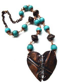 copper and turquoise necklace. wire wrapped copper jewelry. Copper pendant.  Andria McKee, McKee Jewelry,  McKee Jewelry Designs,   Hand made jewelry, jewellery