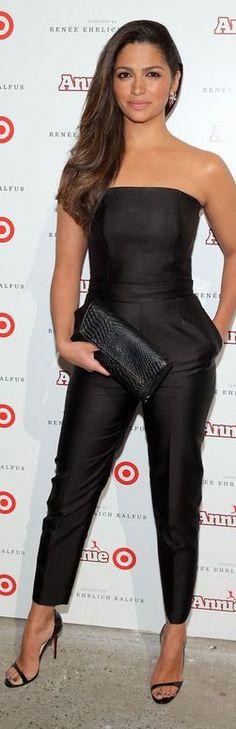 Camila Alves' black strapless jumpsuit