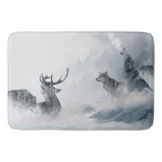 Fantasy Wolf Bathroom Mat