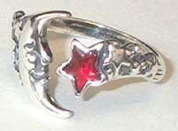 #pagan #wicca #witchcraft #celtic #druid #tarot Moon & Star Adjustable ring $26.95