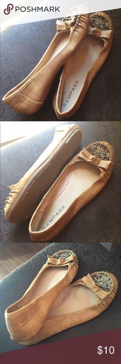 Rampage Tan Flats Size 7.5 Rampage Tan Flats with beading on toe. Good used condition. Rampage Shoes Flats & Loafers