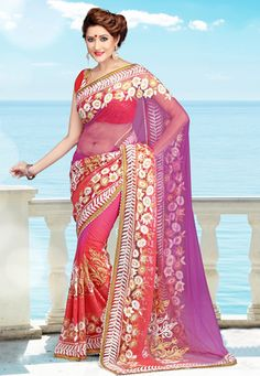 Orange and magenta net saree designed with thread embroidery and patch border work. Available with orange net blouse fabric which can be customized from 34 to 40 inches, blouse shown on the model is for photography purpose only). (Slight variation in color and patch border work is possible). data-pin-do=