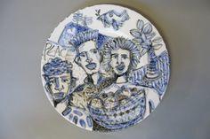 """Fruitful"" Blue, Black and White painted plate . Tiffany Wallace Ceramics SA 2016"