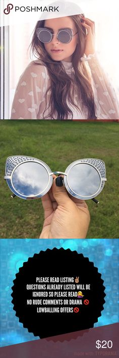 New🎉 Grey/ Silver CatEye Mirror• Aviator• vintage Like most items from my boutique the majority of these items have no tags but does come in a plastic bag. I took a picture to show how they look outside without using flash.   Brand new ✅ Unbranded Not accepting OFFERS on INDIVIDUAL ITEMS ❌ No trades ❌ No tags❌ No holds❌   💥🔅Prices are FIRM🔅💥    If u have any questions plz ask before purchase is made unbranded Accessories Sunglasses