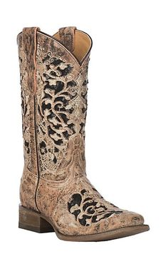 24478950de3 Circle G by Corral Women's Brown with Black Embroidery Western Snip ...