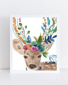 Art print of doe in flower crown by Bari J. Deer art print. Christmas gift art. Illustration by Bari J. Art