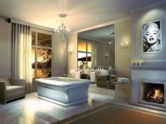 Get ideas for transforming your bathroom into a royal retreat with luxurious designs that include enchanting chandeliers, dazzling fireplaces and lots of rich marble.