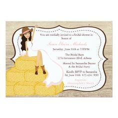 Farm Wedding Invitations Chic Pink Cowgirl Country Bride Bridal Shower Card