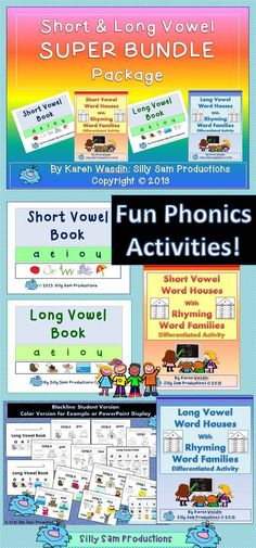 Short and Long Vowel Word House and Book Activity! FUN PHONICS Activities. Super Savings with the BUNDLE! Differentiated! Over 160 Pages! $