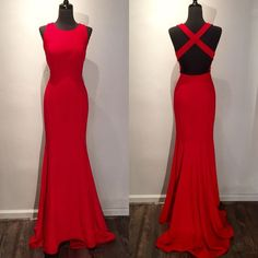 Evening Dress,Mermaid Evening Dresses,Formal Gown,Mermaid Prom Dress,Red Chiffon