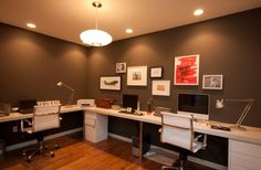 Clean and elegant home office in dark colors and light decor