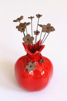 Ceramic Pomegranate Judaica gift for Rosh Hashana or by TzadSheni