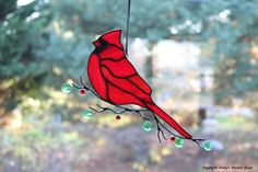 Cardinal Stained Glass Suncatcher by connysstainedglass on Etsy