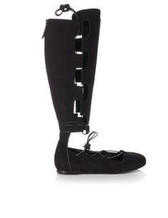 Black Suede Gladiator Boots | Ancient Greek Sandals | Avenue32