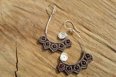 handmade macrame earrings with hammered silver platted wire grenade round gemstones and sterling silver hook