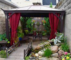 Backyard Pergola and Gazebo Ideas Garden Gazebo, Backyard Pergola, Tikki Bar, Delaware Park, Bluestone Patio, Rustic Pergola, Little Cottages, Hidden Garden, Steel Pergola