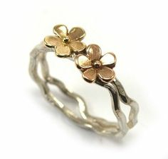 Silver Ring with 9K gold flower