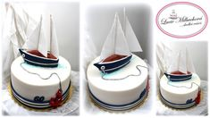 Sailing boat - cake by Lucie Milbachová (Czech rep. 70th Birthday Parties, Birthday Cakes For Men, Themed Birthday Cakes, Sailboat Cake, Nautical Cake, Party Food Themes, Party Ideas, Diabetic Cake, Cake Decorating Piping