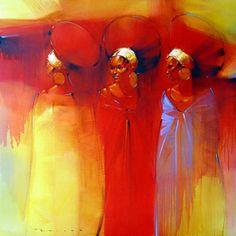 Zulu Women By Peter Pharoah (Prints Available) Zulu Women, African Women, African American Artwork, African Art Paintings, South African Artists, Black Artwork, Diesel Punk, Figure Painting, Figurative Art
