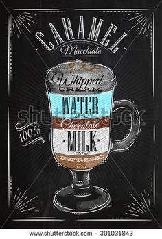 Poster coffee caramel macchiato in vintage style drawing with chalk on the blackboard