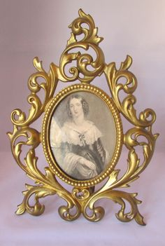 Gorgeous Art Nouveau Tabletop Ornate Victorian Picture Frame. Gold Gilded Over Brass.